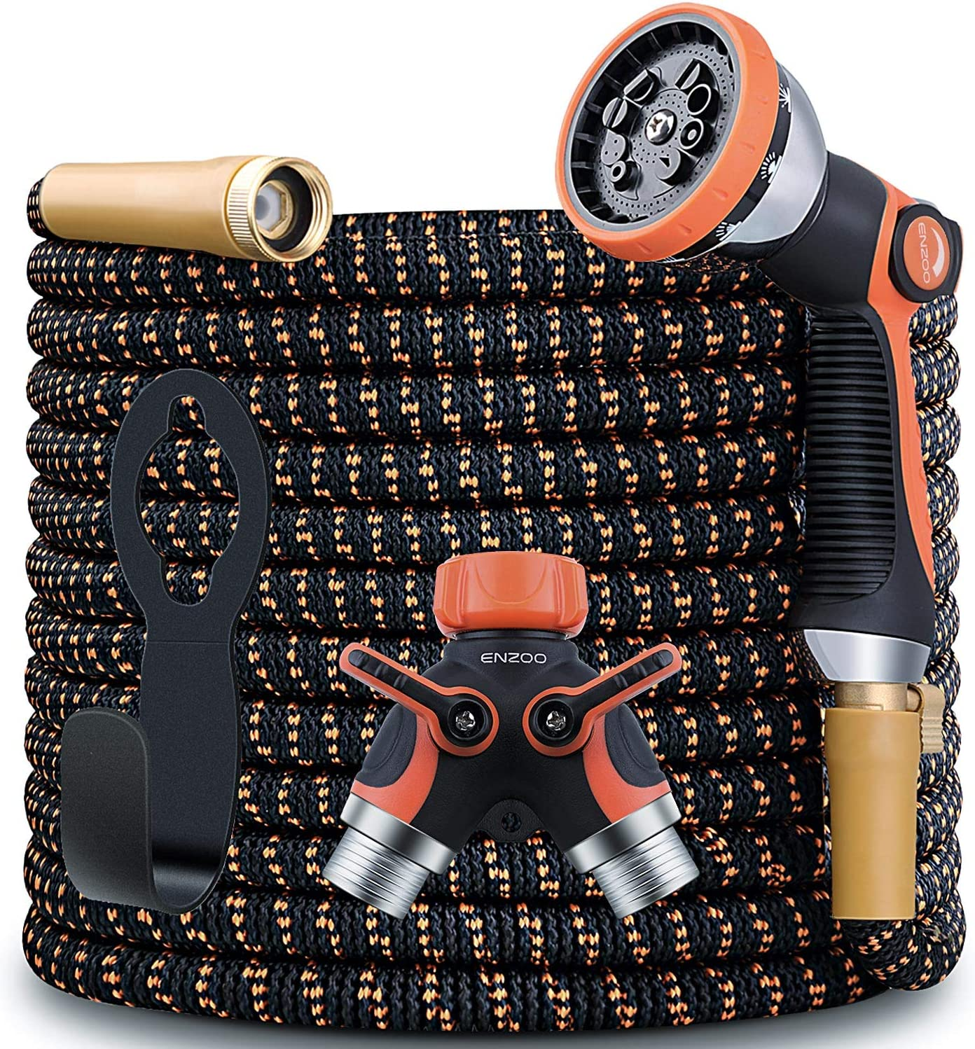 ENZOO Garden Hose Expandable- 100 Feet 4-Layers Latex/Superior Strength 3750D/3/4 Strong Brass Connectors/2-Way Pocket Flexible Splitter with 10 Function Zinc Spray Nozzle