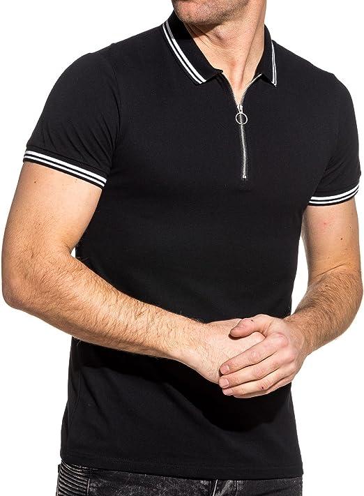 Frilivin – Polo piqué para Hombre, Color Negro, Ribete Blanco con ...