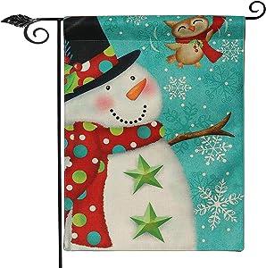SANDEGOO Christmas Home Garden Flag,11.8 x 17.7 Inch Halloween Decorative Summer Fall Flower Floral House Flag (Flag + Small Flagpole), Light Blue (Christmas Snowman)