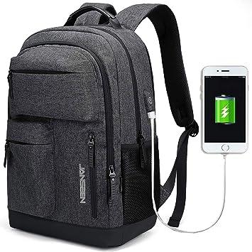 d87956b1fd732 JANSBEN Wasserdichte Laptop Rucksack Herren Damen Jungen Schulrucksack mit  USB-Anschluss