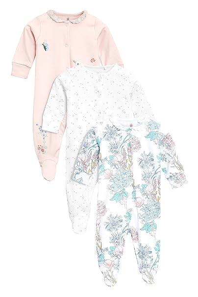 next Bebé-Niñas Pack De Tres Pijamas Tipo Pelele De Flores (0 Meses -