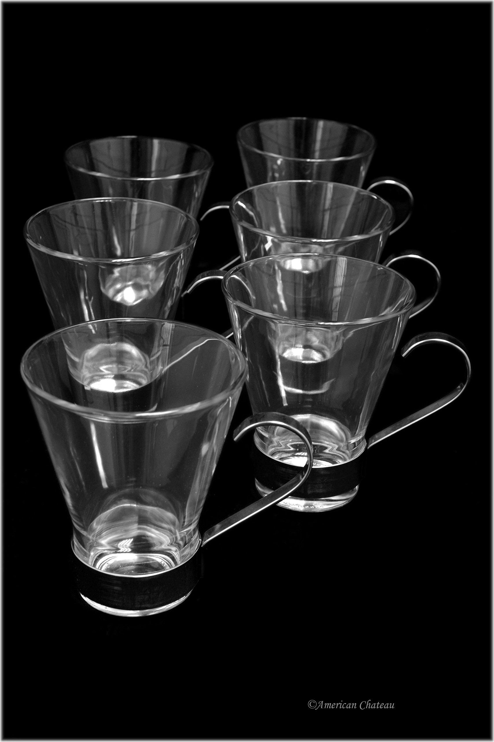 Set 6 Glass & Stainless Steel Tea/Iced Irish Coffee Mug Glasses