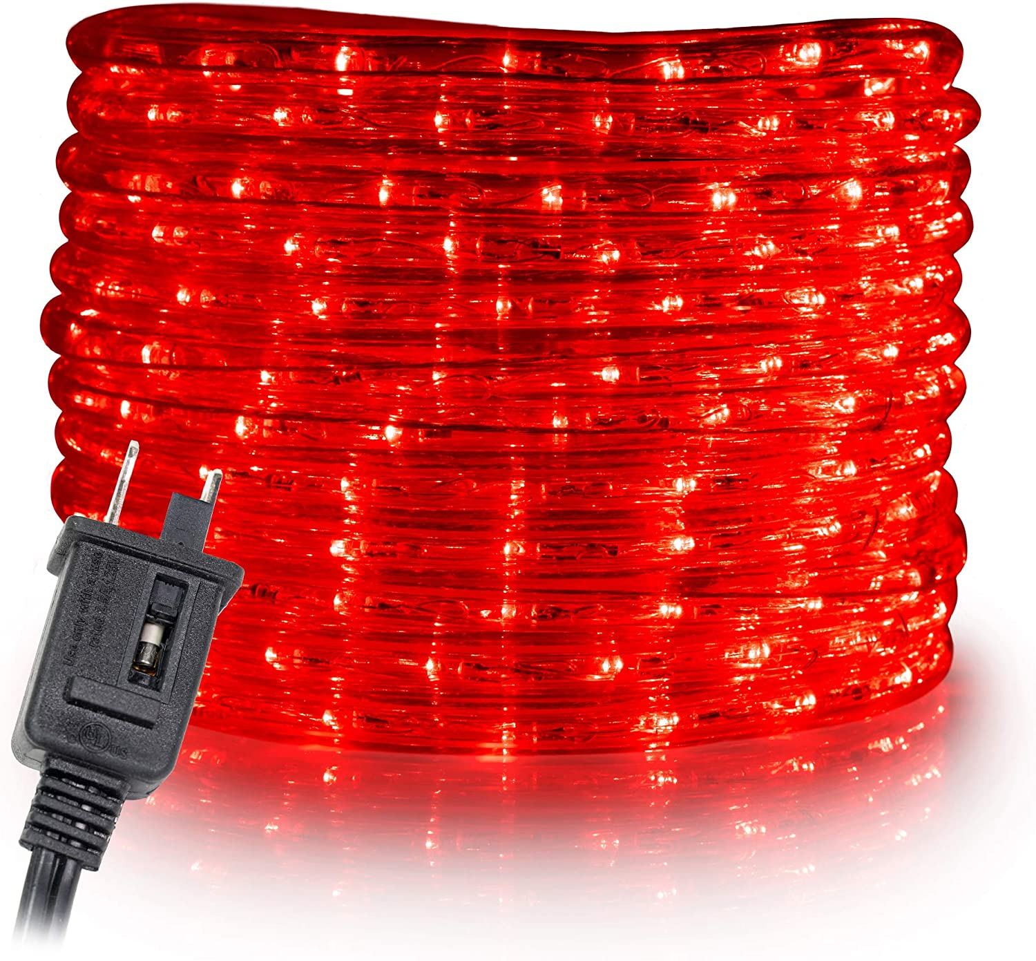 WYZworks 50 ft Red PRE-Assembled LED Rope Lights - 2 Wire Christmas Holiday Decoration Indoor/Outdoor Lighting | UL Certified