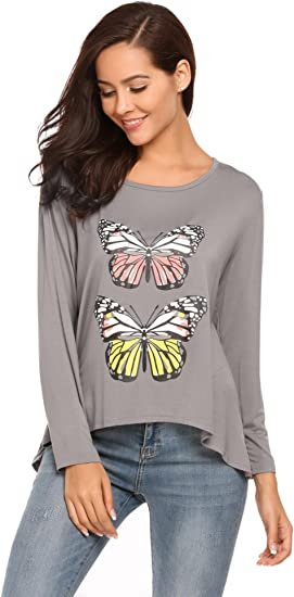 Fashion Multicoloured Butterfly and Flowers Print High Low Hem Top S//M Fit Size