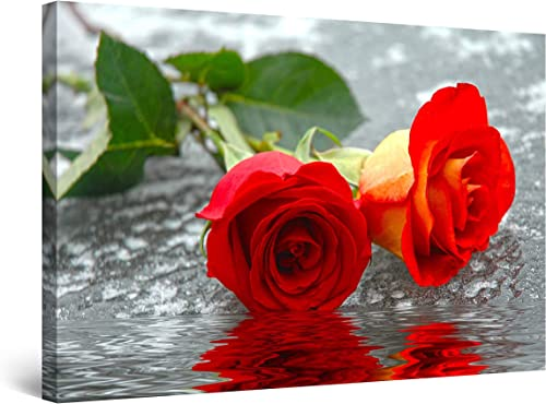 Startonight Canvas Wall Art – Roses on The Water, Flowers Framed 32 x 48 Inches