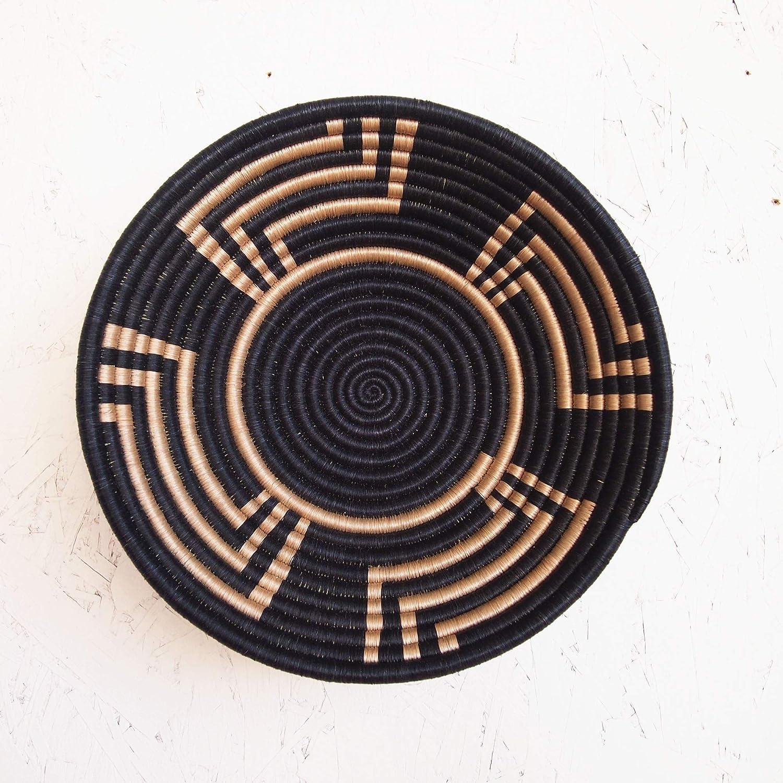 African Basket- Musoma/Rwanda Basket/Woven Bowl/Sisal & Sweetgrass Basket/Black, Tan