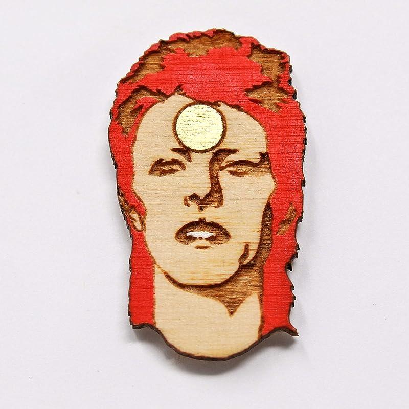 RAINBOWIE Pin Retro Rainbow Rockstar Hand Painted Wood Pin