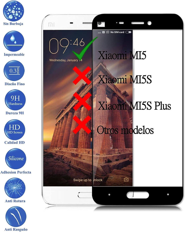 Todotumovil Protector de Pantalla Xiaomi MI5 Negro Completo 3D Cristal Templado Vidrio Curvo para movil: Amazon.es: Electrónica