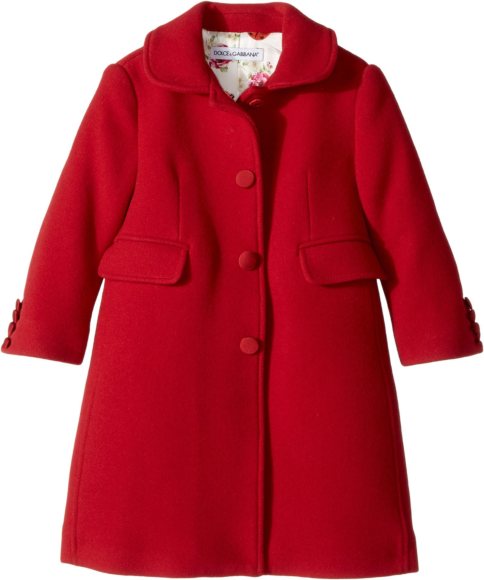 Dolce & Gabbana Kids Baby Girl's Back to School Wool/Cashmere Coat (Toddler/Little Kids) Bordeaux 4T