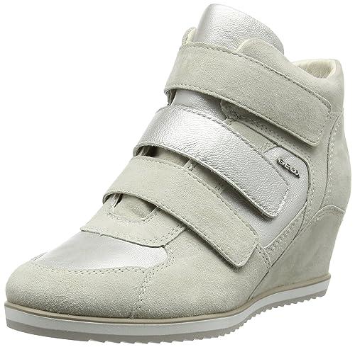 Geox D Illusion D, Zapatillas Altas para Mujer, Blanco (ivory/platinumc0997), 40 EU: Amazon.es: Zapatos y complementos