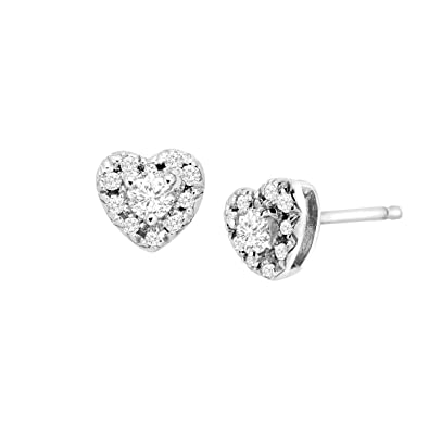 8eec0e884 Image Unavailable. Image not available for. Color: 1/4 ct Diamond Heart Halo  Stud Earrings in Sterling Silver