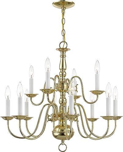Livex Lighting 5012-02 Williamsburg 12 Light Two Tier 8 4 Polished Brass Chandelier