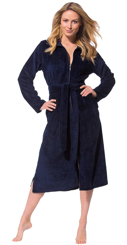 Morgenstern, Damen Haus- Bademantel mit Reißverschluss, Bindegürtel und Stehkragen, Größe M, Farbe blau (dunkelblau), ohne Kapuze, Softvelour
