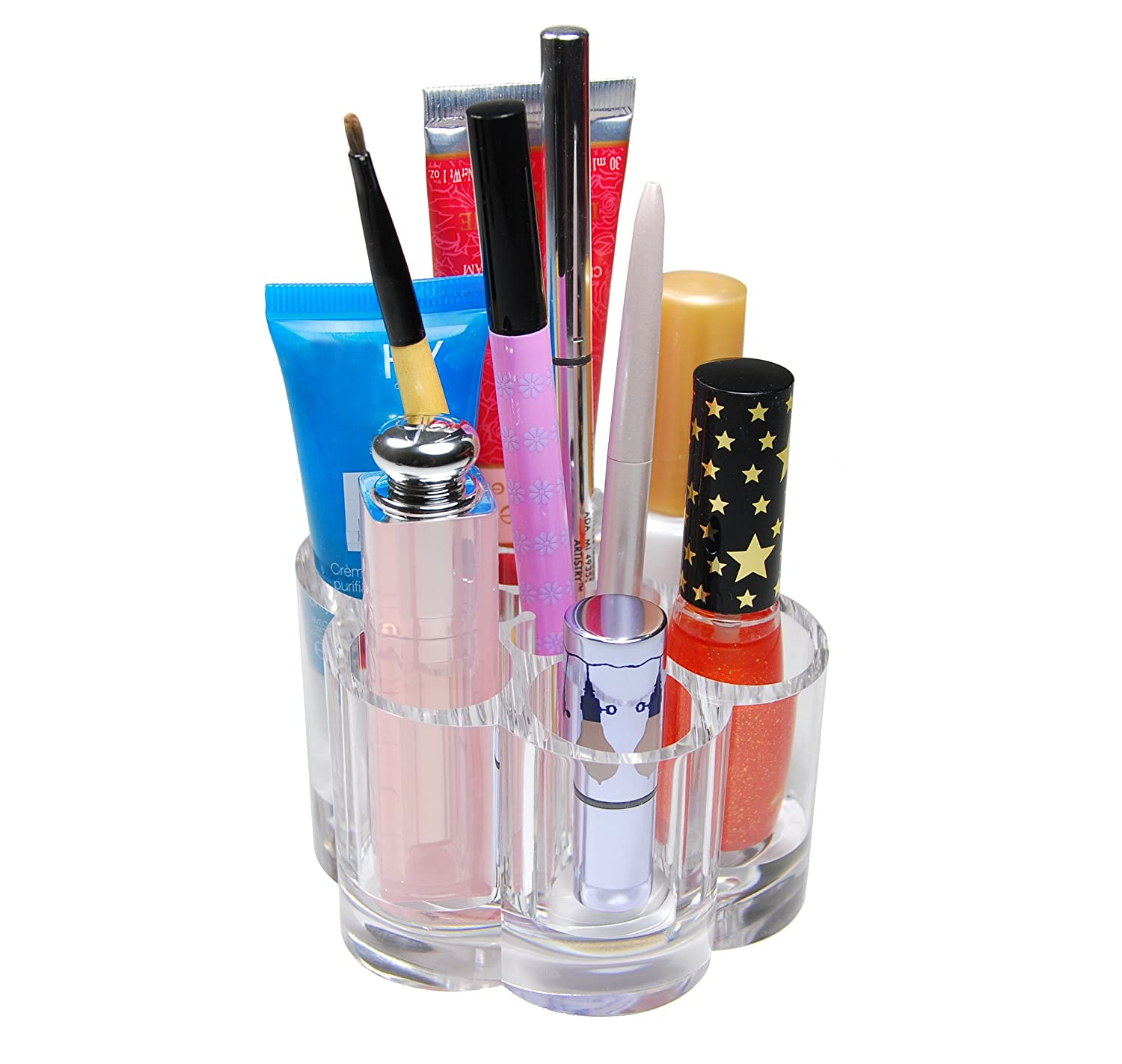 GQ Flower Style Clear Acrylic Cosmetic Organizer Makeup Brush Lipstick & Lip Gloss Holder with 12 Spaces Storage