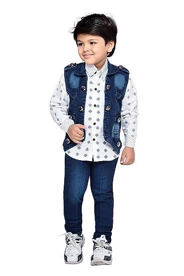 6b32252be AJ Dezines Kids Shirt Jeans and Jacket Clothing Set for Boys (667 BLUE 18)