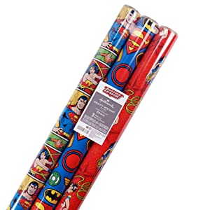 Hallmark Justice League Wrapping Paper with Cut Lines (Pack of 3, 105 sq. ft. ttl.)
