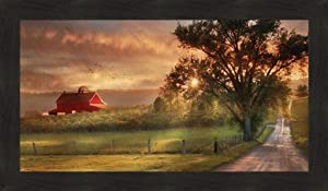 Home Cabin Décor Country Lane Sunset by Lori Deiter 20x34 Red Barn Farm Evening Sun Fields Framed Print Picture