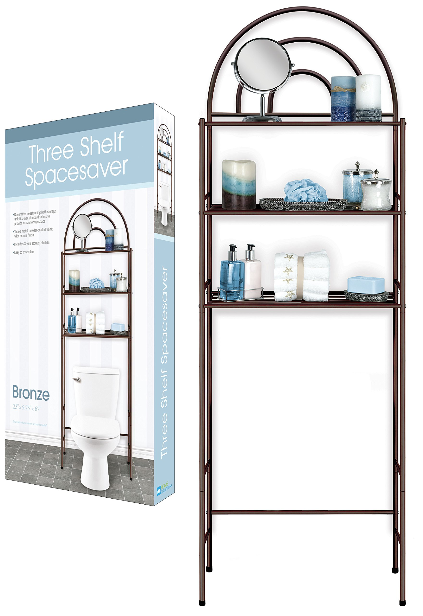 DINY Home Collections 3 Shelf Over The Toilet Spacesaver Easy to Assemble Bronze Metal