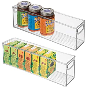 """mDesign Plastic Stackable Kitchen Pantry Cabinet, Refrigerator or Freezer Food Storage Bins with Handles - Organizer for Fruit, Yogurt, Snacks, Pasta - BPA Free, 16"""" Long, 2 Pack - Clear"""