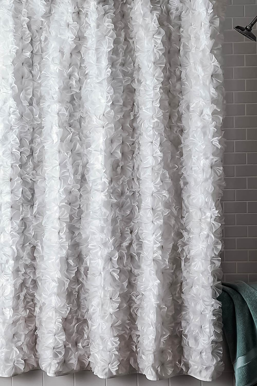 Amazon.com: \' Boutonniere\' white faux silk shower curtain (70\