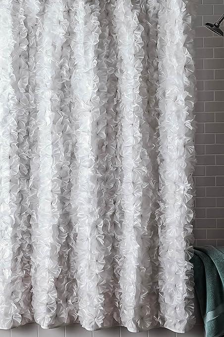 Boutonniere White Faux Silk Shower Curtain 70quot
