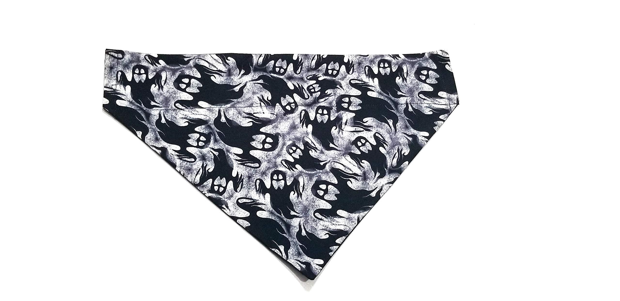 Ghost Black Halloween Print Dog Bandana Kerchief No-Tie Design