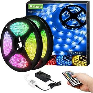 Arbrac Led Strip Lights with Remote Control, 32.8ft RGB 5050 LEDs Color Changing Light Strip Kit, 12V Power Supply Led Lights for Bedroom, Room, TV, Kitchen and Home Decoration Bias Lighting