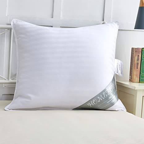 Homefocus Almohada cojín de Plumas (3 Cámara, plumón Plumón Almohada 100% algodón, Blanco, 80 x 80 cm
