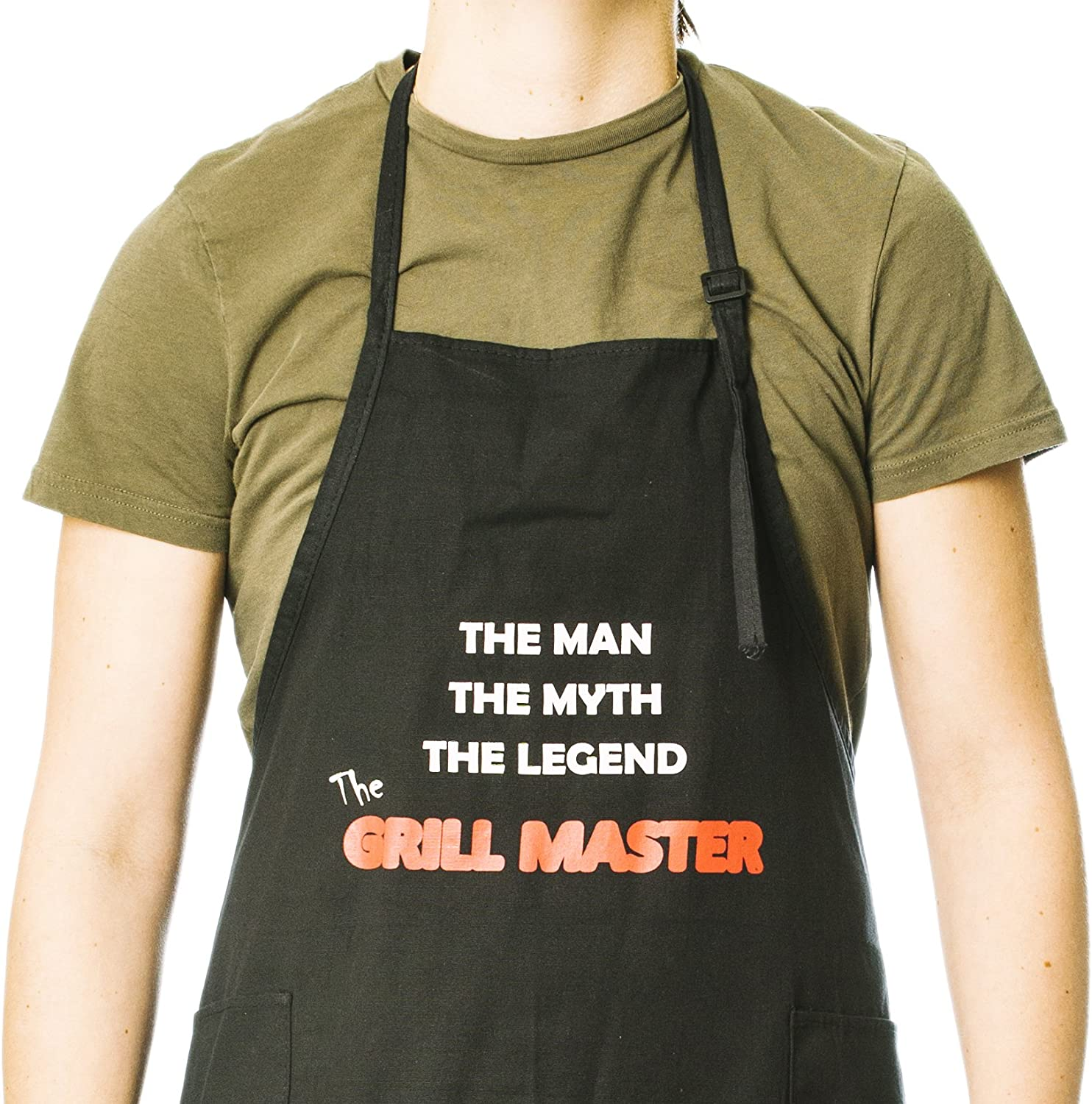 Funny Apron for Men and Women Perfect for BBQ Grilling Barbecue Cooking Baking Funny Guy Mugs Grill Master Adjustable Apron with Pockets