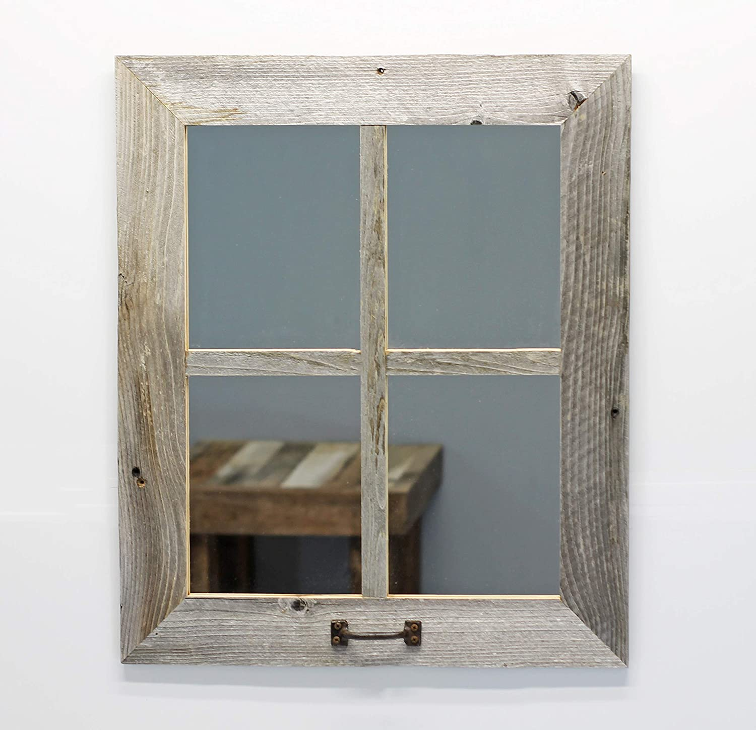 Window Style 4 Pane Mirror Reclaimed Barn Wood 3 Inch Wide Framed Rustic Farmhouse Decorative Gallery Country Decor Mantle Home Living Bed Room Wooden Large 8x10 Wall Hanging Distressed