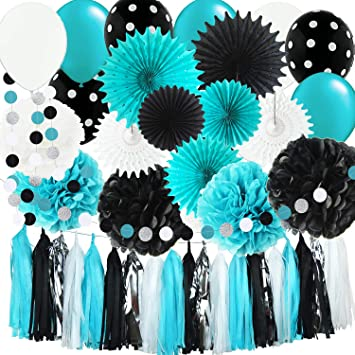 Bridal Shower Decorations Robins Egg Blue White Black Silver Banner Paper Fan