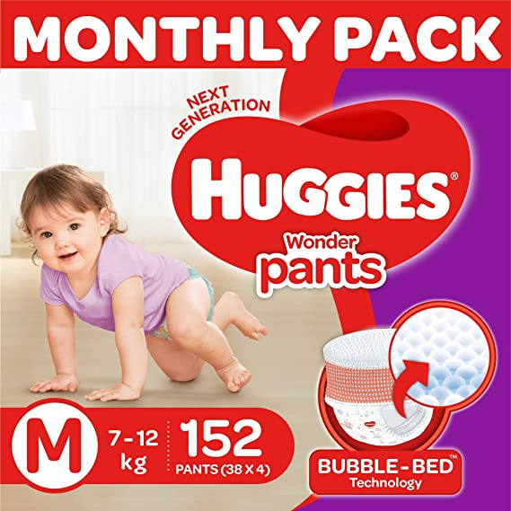 Huggies Wonder Pants Diapers Monthly Pack, Medium (152 Count)