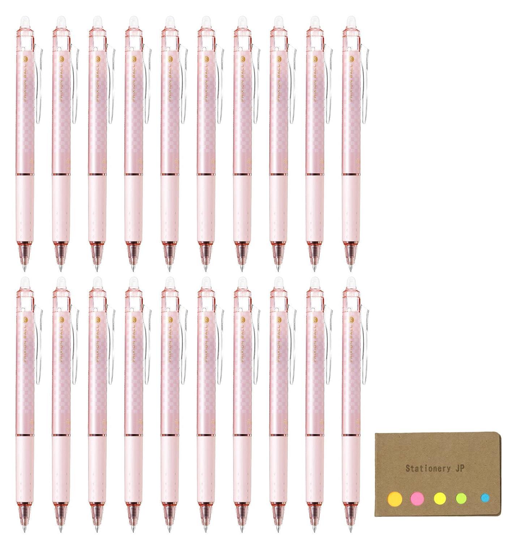 パイロットFrixion Ball Knock格納式Erasable Gelインクペン,デザインブロックチェックシリーズ,ピンクバレル, Extra Fine Point 0.5 MM,ブラックインク、20-pack、付箋値設定 B07D55M619