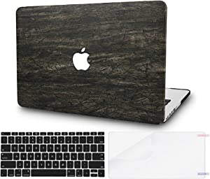 """KECC Laptop Case for Old MacBook Pro 13"""" Retina (-2015) w/Keyboard Cover Italian Leather Case A1502/A1425 + Screen Protector 3 in 1 Bundle (Brown Wood Leather)"""
