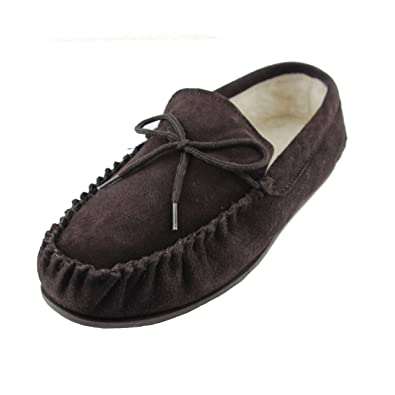 ece917dac43 Deluxe Mens Sheepskin Wool Moccasin Slippers with Hard Sole - Suede Upper  (7 D(