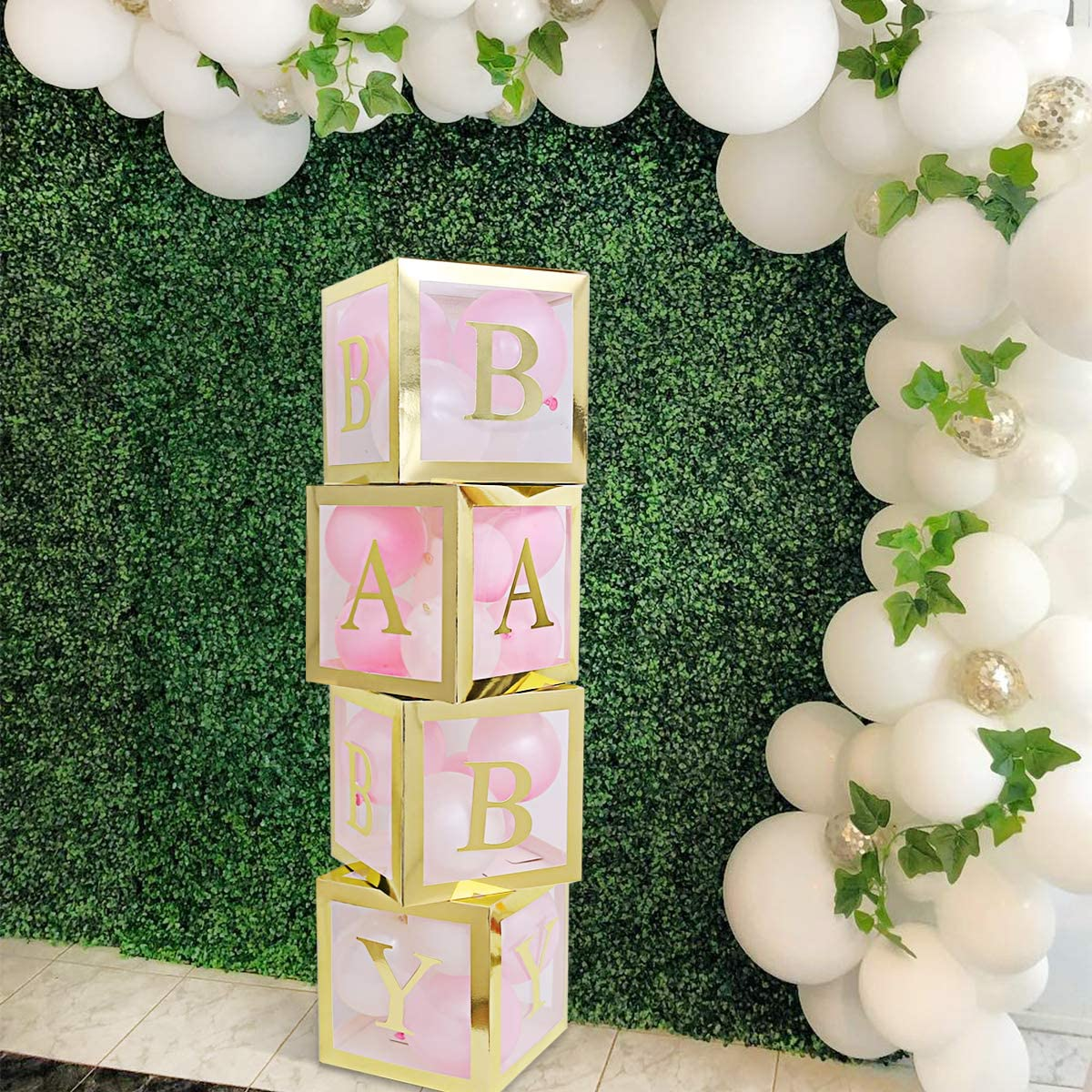 Baby Shower Boxes Party Decorations – 4 pcs Gold Transparent Partry Boxes Decor with Gold Letter, Individual BABY Blocks Design for Sunflower Baby Shower Bridal Showers Birthday Party Gender Reveal