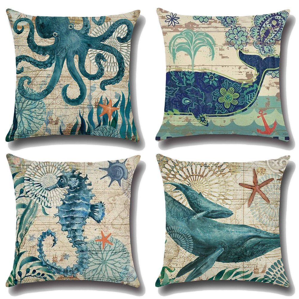 JOTOM Throw Pillow Covers for Couch Sofa Bed, Cotton Linen Square Decorative Cushion Covers 18'' x 18'', Pack of 4 - Marine Animal