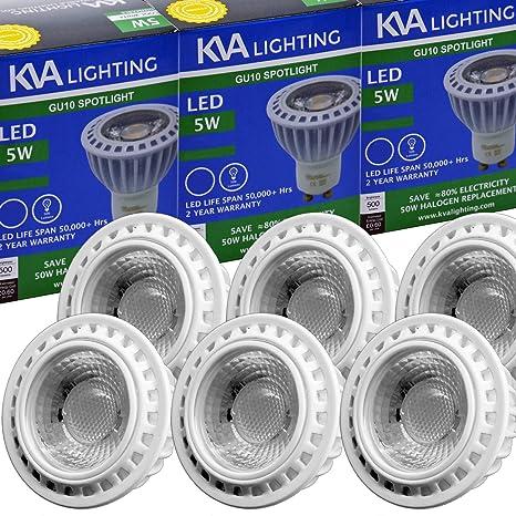 KVA LIGHTING - Bombilla LED COB GU10 reflector, luz muy brillante 500 lúmenes, 5