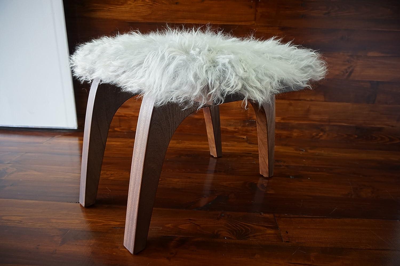 Minimalistisch Mahagoniholz Hocker / Stuhl mit echtem geschweiften Silber Norwegisch Pelssau Schaffell - Designermöbel von MILABERT (S0516M4)