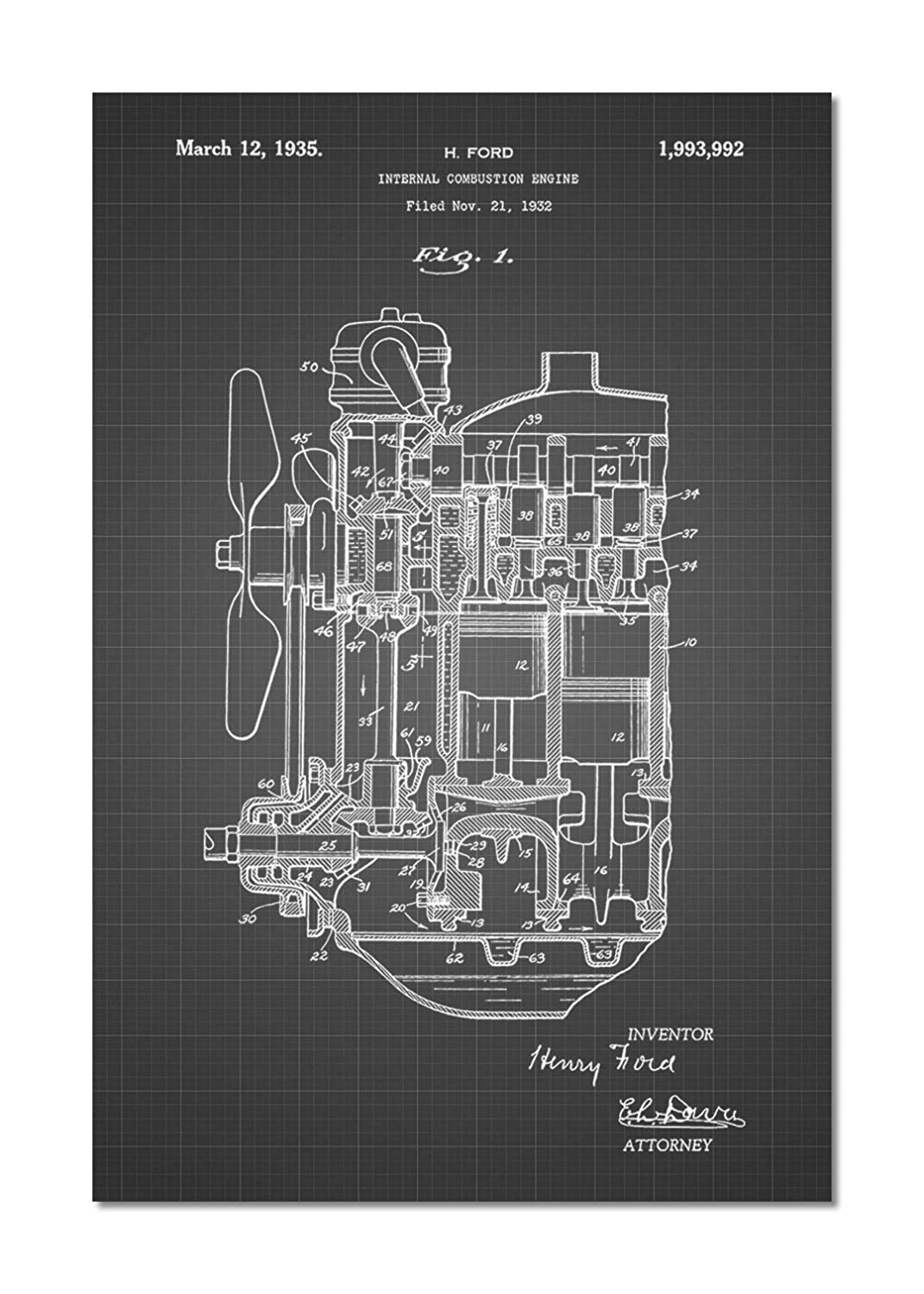 Ford Internal Combustion Engine Patent Poster Posters Diagram For Idiots Prints