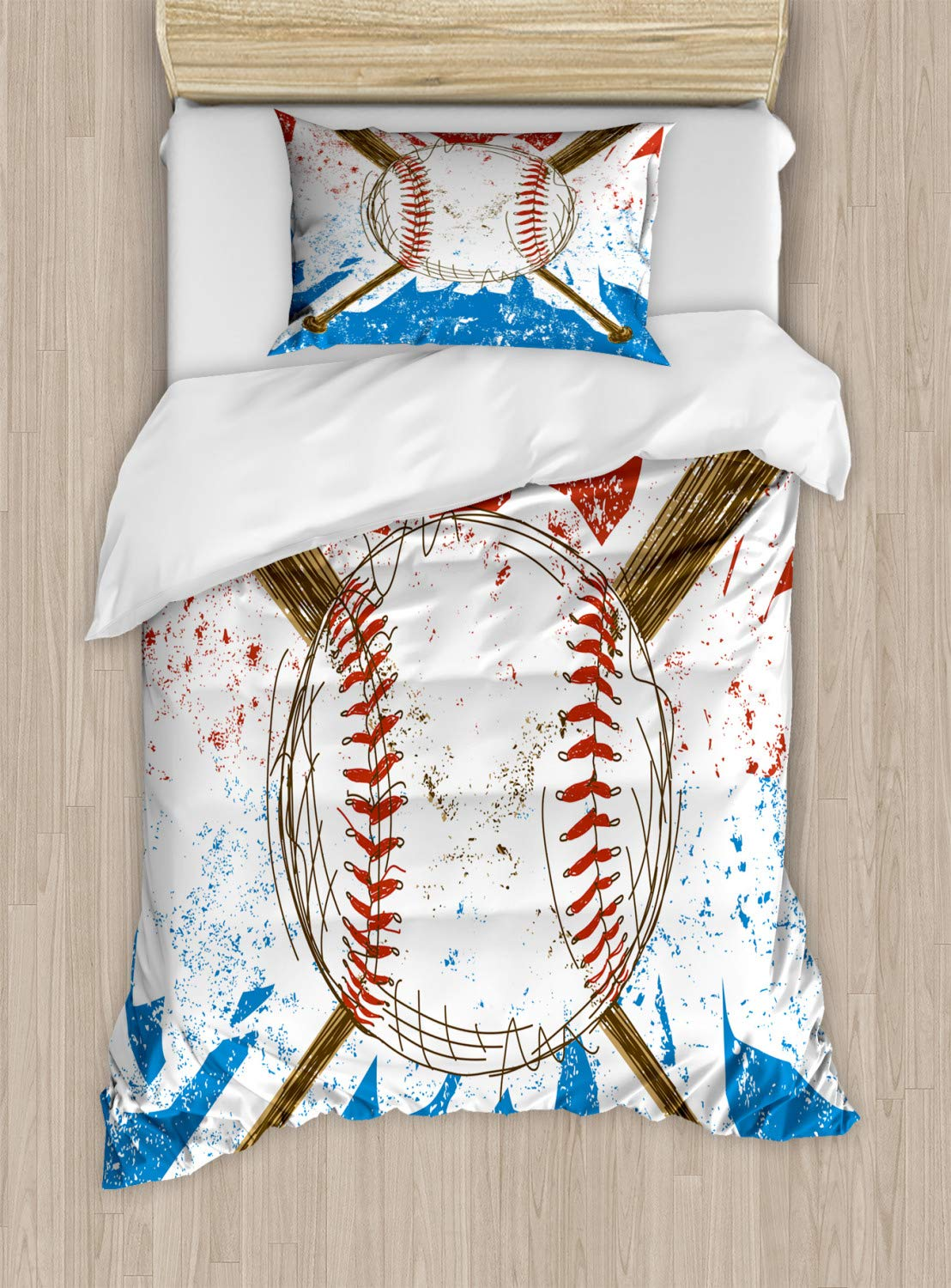 Lunarable Sports Duvet Cover Set, Hand Drawn Baseball Bats and Ball on Grunge Colored Background, Decorative 2 Piece Bedding Set with 1 Pillow Sham, Twin Size, Brown Blue