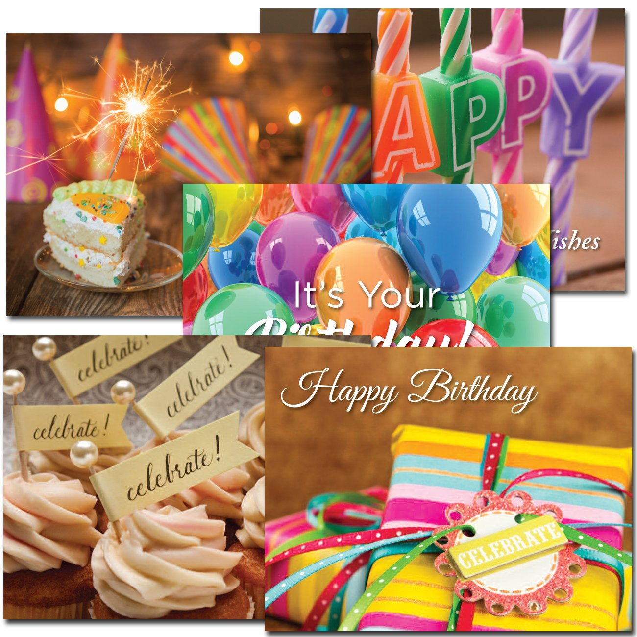 POSTCARDS:Birthday Assortment II, box of 60: 12 each of 5 designs Made in USA by CroninCards No Envelopes
