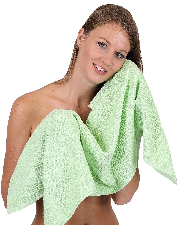 BETZ Lot de 6 Serviettes de Toilette Taille 50x100 cm 100/% Coton Palermo Couleur Vert et Anthracite