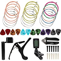 OOTSR 46pcs Guitar Strings Changing Tool, Guitar Kits Including Guitar Strings Guitar Tuner Picks Capo Pins Guitar String Cutter and Winder Home Tool Kit