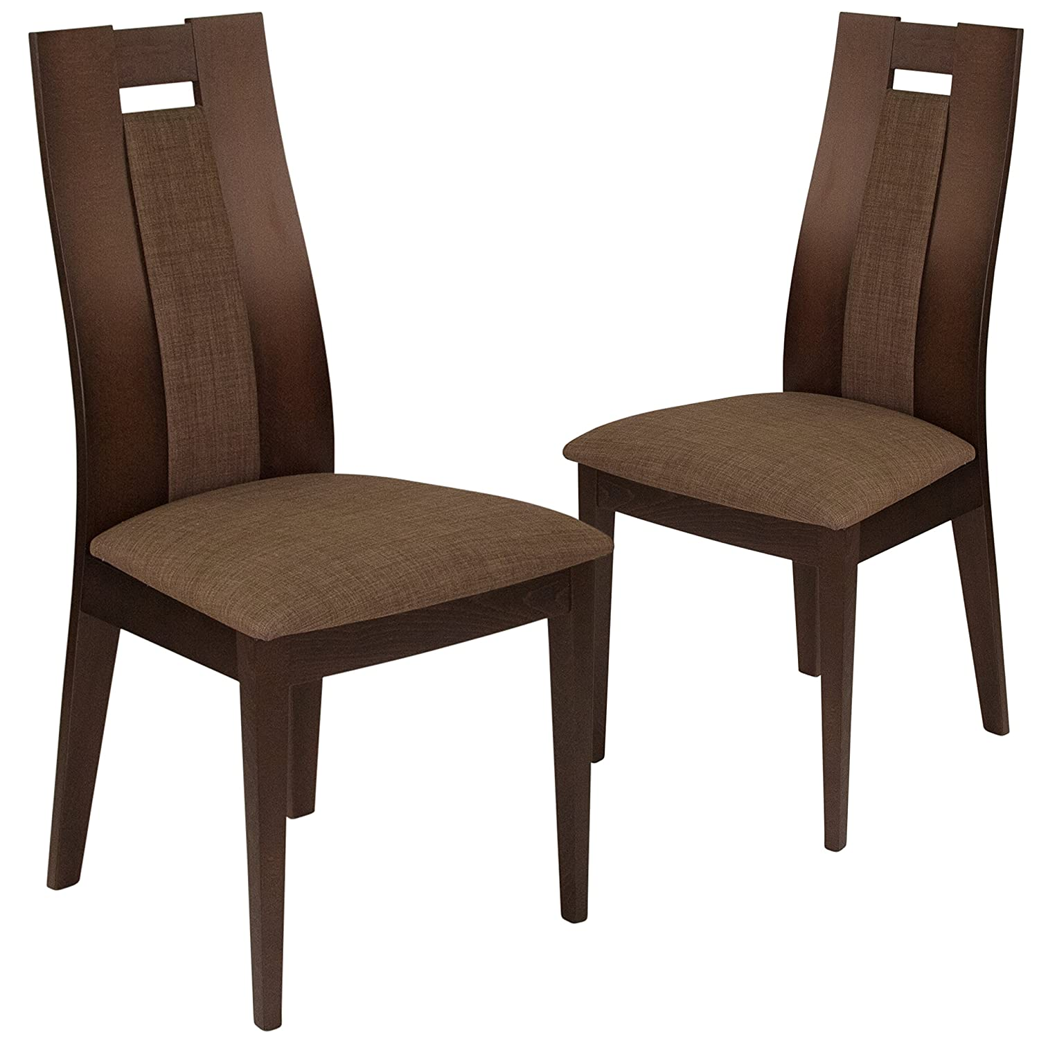 Amazon com flash furniture 2 pk almont espresso finish wood dining chair with curved slat wood and golden honey brown fabric seat chairs