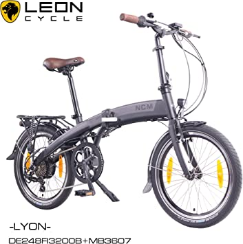 NCM Lyon - Bicicleta eléctrica, 20 pulgadas (50 cm), plegable, E ...