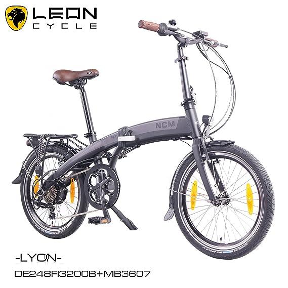 NCM Lyon - Bicicleta eléctrica, 20 pulgadas (50 cm), plegable, E-Bike, Pedelec, 36 V, 250 W, Motor trasero mxus, 7,8 Ah, batería de celdas de Samsung, ...