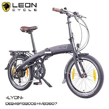 NCM Lyon - Bicicleta eléctrica, 20 pulgadas (50 cm), plegable, E