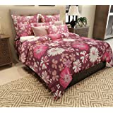Home Candy Floral Cotton Double Bedsheet with 2 Pillow Covers - Purple