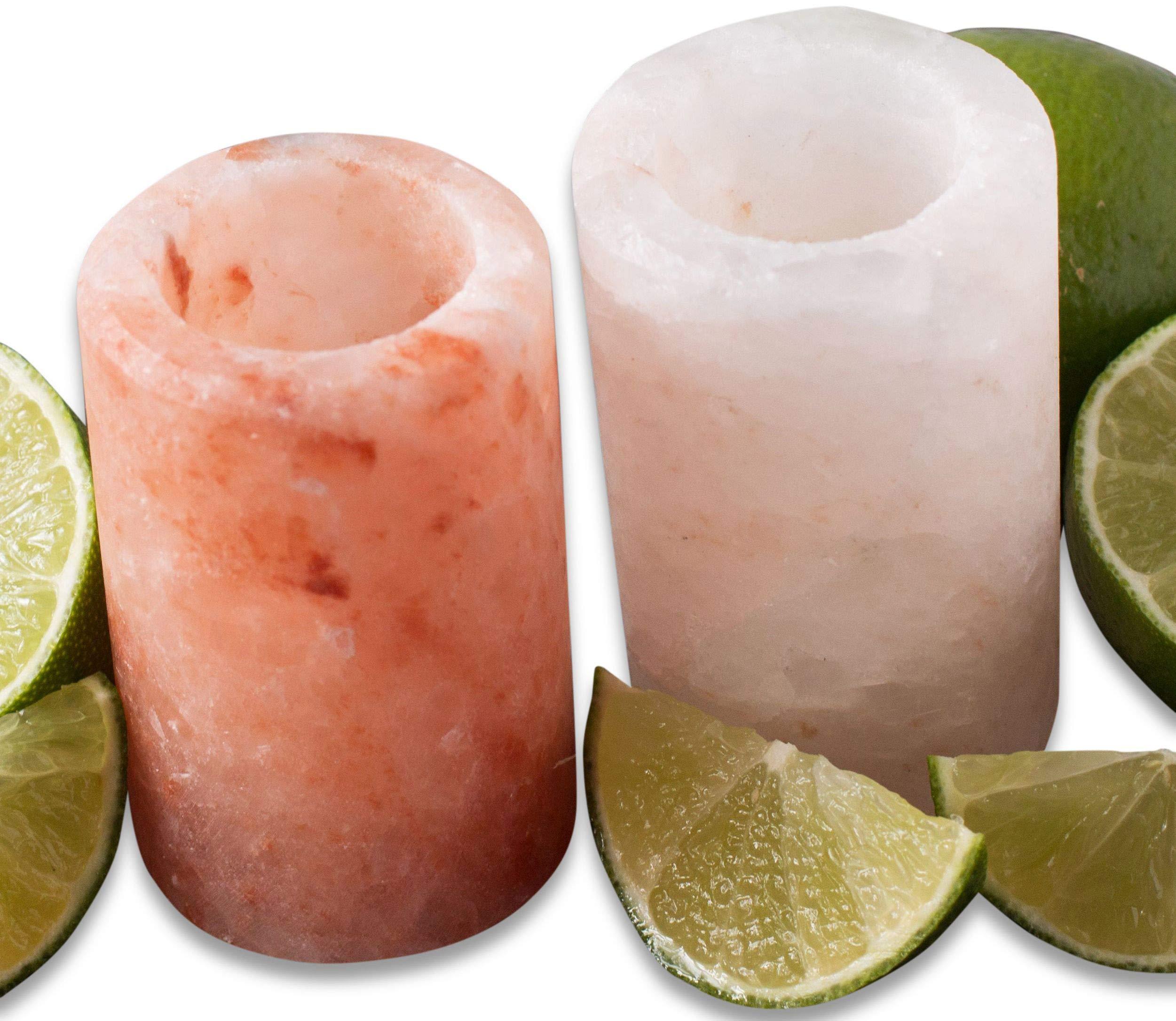 Salt Shot Glasses : Pure Himalayan Pink Salt Tequila Shot Glass Set - 100% Premium Food Grade Himalayan Salt - No Fillers or Binders - Exceeds FDA and European Requirements | Cestari Kitchen (2 pack)